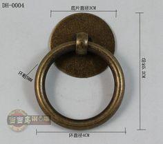 40mm chinese antieke meubels lade handgrepen kleine zuiver koperen deuren klassieke ronde ringen handvat en distributie schroeven
