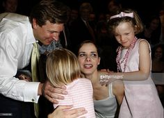 Darcy Bussell is seen with her two daughters Phoebe, Zoe and husband Angus Forbes after her final curtain call for her last performance 'Song of the Earth' at the Royal Opera House on June 8, 2007 in London, England.