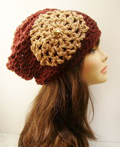 FREE SHIPPING  Burst Slouchy Crochet Beanie with Aster by Tzigns, $25.00