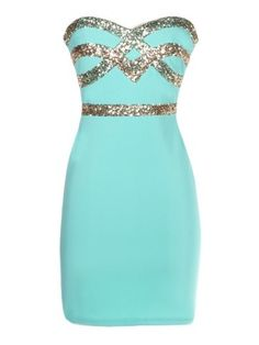 Strapless sweetheart fitted dress with sequin detail and back zipper95% Polyester 5% SpandexLength:28