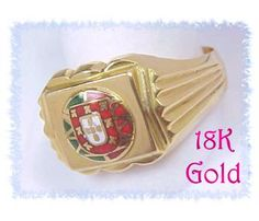 18K GOLD ~ European Coat of Arms Crest Enamel Ring ~ FREE SHIPPING $1255  www.FindMeTreasure.com