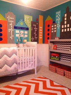 City Nursery. Aqua, Orange and Gray Chevron