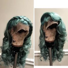 Hair Grade: Magic Love Hair Unprocessed Virgin Human Hair Hair Length: inches In Stock Hair Color: Green Lace Front Wigs, Lace Wigs, Scene Hair, Wig Styles, Long Hair Styles, Weave Styles, Natural Hair Styles, Hair Colorful, Bath & Body Works