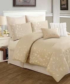 Another great find on #zulily! Cream Dana Comforter Set #zulilyfinds