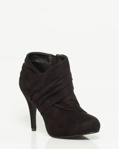 Ruched Suede-like Platform Bootie