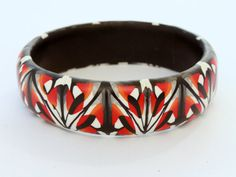 Red black and grey art deco bangle, striking geometric pattern, statement bracelet. Beautiful one-of-a-kind piece by DoodlePippin