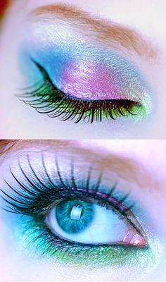Eye Makeup Ideas: Blue & Pink Butterfly Eye Makeup Idea