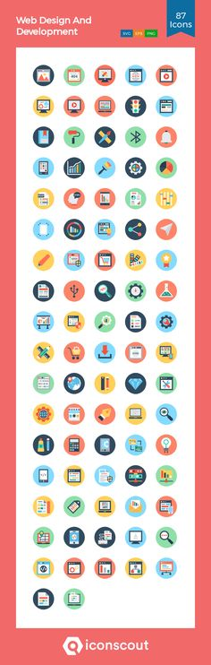 Web Design And Development Icon Pack - 87 Flat Icons Flat Icons, Png Icons, Icon Pack, Icon Font, Design Development, Fonts, Web Design, Packing, Designer Fonts