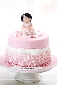 cupcakes cake Girl and Pink Ruffles Cake by Bake-a-boo Cakes Pretty Cakes, Beautiful Cakes, Amazing Cakes, Pink Ruffle Cake, Ruffles, Bake A Boo, Bolo Fack, Ballerina Cakes, Just Cakes
