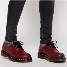 Shop Dr Martens 1461 Cherry Red Flat Shoes at ASOS. Doc Martens Outfit, Botas Doc Martens, Dr Martens 1461, Doc Martens Style, White Doc Martens, Doc Martens Oxfords, Style Grunge, Soft Grunge, Mode Outfits