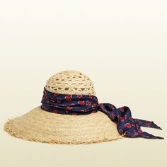 Gucci Straw Hat With Heartbeat Silk Band