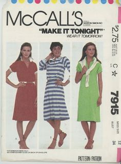 Mccall's 7915 Misses Dress for Stretch Knits Only - Size 12 - Sewing Patterns
