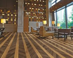 Expona Commercial luxury vinyl tile flooring - Tanned Chevron Parquet and Classic Oak