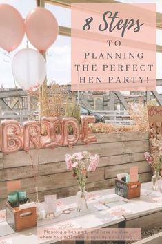 Plan the perfect hen party in 8 easy steps! Using our step-by -step guide Planning a hen party needn't be difficult. We've put together a step by step guide, packed full of great ideas, that'll be sure to make everyone happy. Hens Party Themes, Hen Party Decorations, Bachelorette Party Decorations, Bridal Shower Decorations, Bacherolette Party, Hen Party Gifts, Party Plan, Hen Night Ideas, Classy Hen Party Ideas