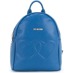 Love Moschino double heart backpack ($272) ❤ liked on Polyvore featuring bags, backpacks, blue, love moschino, backpack bags, sports bag, pu backpack and sport bag