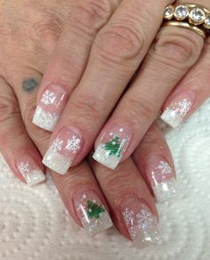 Winter snowflake nails. White glitter Gel Nails by Janee Tittensor @ www.awildhairsalonreno.com