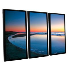 Sea And Sand Ii by Steve Ainsworth 3 Piece Floater Framed Photographic Print on Canvas Set