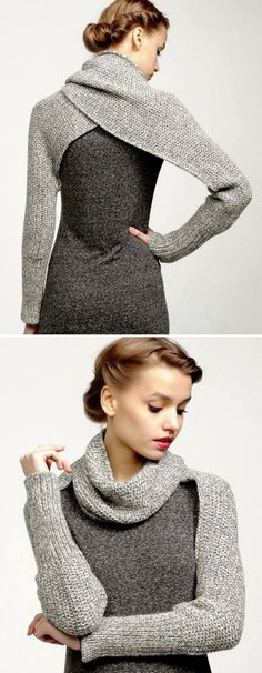 Gray Sweater Dress Love the sleeve wrap