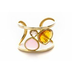 Bangle sterling silver 18k made in italy with multi stone Citrine, smokey, and rose quartz