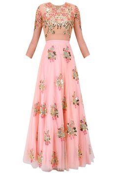 Blush pink rose motifs lehenga with bodysuit and prestitched dupatta available only at Pernia's Pop Up Shop.