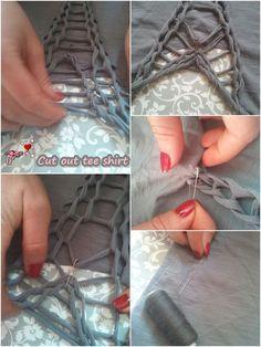 TShirt custom : cut out and braid Zerschnittene Shirts, Diy Cut Shirts, T Shirt Diy, Sewing Shirts, Ripped Shirts, Tshirt Knot, Shirt Makeover, T Shirt Weaving, Diy Camisa