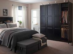 schwarzer kleiderschrank schlafzimmer einrichten ideen ikea