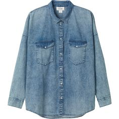 Monki Ana denim shirt (240 VEF) ❤ liked on Polyvore featuring tops, shirts, blouses, blue do, lined denim shirt, blue shirt, shirts & tops, blue top and denim shirt