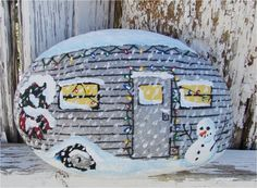 Christmas On The Road vintage travel trailer hand painted river rock, RV
