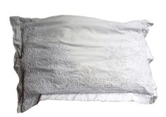 ANTIQUE-COUPLE-PILLOWCASES-FEDERE-RICAMATE-HAND-EMBROIRED-IVORY-1800s-SHABBY