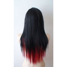 Scene wig. Black /Wine red scene hairstyle wig. Emo wig. Emo hair long... ($140) ❤ liked on Polyvore featuring beauty products, haircare, hair styling tools, hair, hair styles and hairstyles