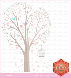 Heart Shape Tree Clip Art For Wedding Invitation Cards by BaBaPuff, $5.00