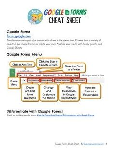 Google Forms Cheat Sheet  Ready to start using the most powerful suite of collaboration tools in your classroom? Google Forms is an amazing tool for teachers and students that allows you to create surveys, forms, and even assessments! This Google Forms Cheat Sheet will give teachers and students an overview of the Forms Home Screen, as well as a good overview of the available features in the menu and toolbar of Google Forms.
