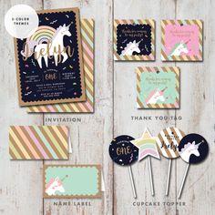 Kit de invitación fiesta de cumpleaños de unicornio, favorecen la etiqueta, Cupcake Topper, nombre tienda, menta azul rosado DIY imprimible Digital descarga inmediata