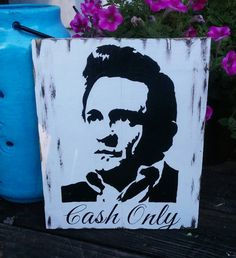 Johnny Cash - Cash Only - Silhouette of Johnny - hand painted - reclaimed wood or canvas option