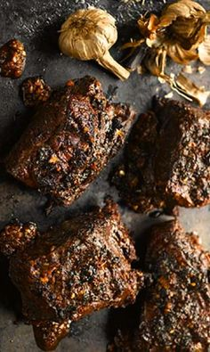 yotam ottolenghi's barbeque beef short ribs with black garlic + urfa chilli  |  http-/www.theguardian.com/lifeandstyle/2013/sep/20/black-garlic-recipes-yotam-ottolenghi
