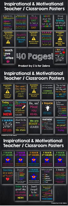 40 pages of Inspirational and Motivational posters for your classroom! Chalkboard background with bright colors! These look like they could be found in a subway or written on a chalkboard and focus on education. Hang these posters around your room and feel good about being a teacher.