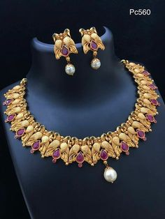 Gold Jewellery Design, Gold Jewelry, Gold Earrings, Bridal Jewelry Sets, Wedding Jewelry, Gold Set, Jewelry Patterns, Necklace Designs, Indian Jewelry