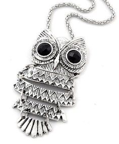 Big Eyed Owl MOVABLE Necklace 27 in Chain Dangle Jointed