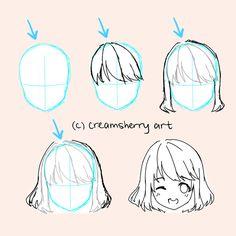 Manga Drawing Tips (Anime Drawing Tutorial) - Drawing Hair Tutorial, Manga Drawing Tutorials, Drawing Tips, Art Tutorials, Sketch Drawing, How To Draw Anime Hair, Manga Hair, Drawing Anime Bodies, Anime Hair Drawing