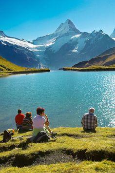 Grindelwald First Lake- Picnic- Grindelwald First- Swiss Alps, Switzerland #Switzerland #travel