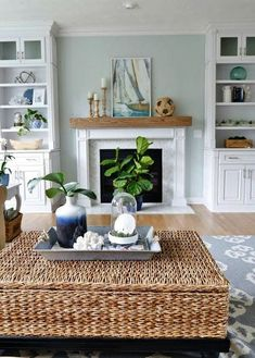 Cute coastal cottage living room