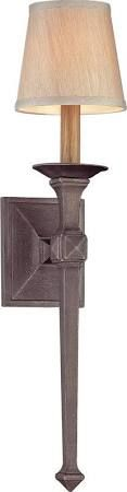 Troy Lighting B2931 Theo 1 Light Wall Sconce with Fabric Shade Aged Pewter Indoor Lighting Wall Sconces Up / Down Lighting