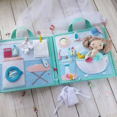 Best 12 Portable Fabric Dollhouse two textile dolls Role Playing – SkillOfKing. Diy Quiet Books, Baby Quiet Book, Felt Quiet Books, Quiet Book Templates, Quiet Book Patterns, Baby Crafts, Crafts For Kids, Felt Doll House, Book Quilt
