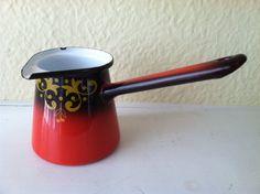 Vintage Mid Century Modern Red Enamelware Enamel by JustMidCentury, $25.00