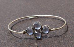 Blue Quartz Four Gemstone Attached Bangle by gemsnjewelryworld
