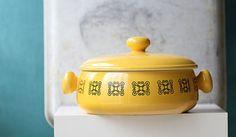 Sunny Yellow Oven Proof Ceramic Glazed Vintage Casserole Dish Japan