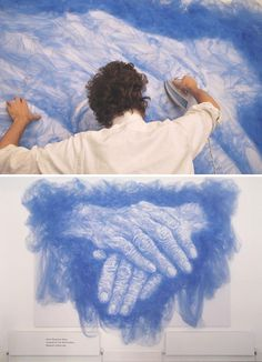 Artist Irons And Folds Tulle Fabric To Create Beautiful Portraits