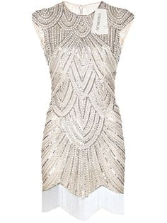Vikoros 1920s Art Deco Great Gatsby Inspired Tassel Beaded Flapper Dress at Amazon Women's Clothing store: