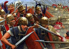 ROMAN: Bof Magnesia. Roman Republican legionaries fighting against the Greek soldiers of the Seleucid Empire. Result of the battle was a great victory for the legionaries, leading to domination by Rome of the area which nowadays is the Turkish peninsula.