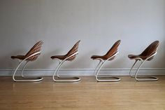 Set of Four Italian Cantilever Chairs by Rinaldi